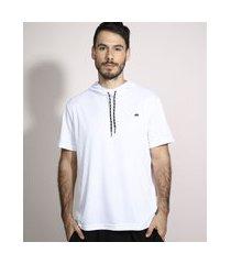 camiseta esportiva ace com capuz manga curta branca
