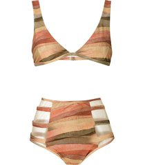 brigitte marta high waisted bikini set - multicolour