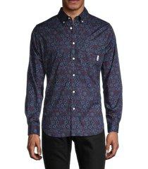ben sherman men's conversational floral-print classic-fit shirt - port royal - size l