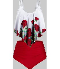 plus size rose print high rise tankini swimwear