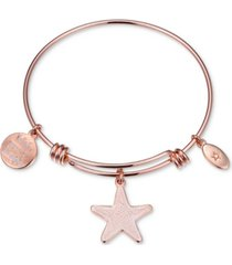 """unwritten """"wish upon a starfish"""" enamel bangle bracelet in rose gold-tone stainless steel"""