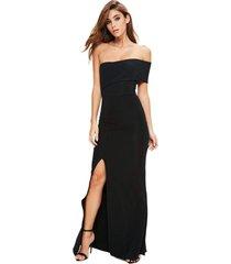 vestido racy modas longo com babado e fenda preto