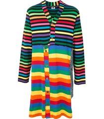 comme des garçons homme plus longline deconstructed striped cardigan -