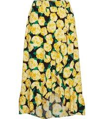 oriental print skirt knälång kjol gul modström