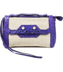 balenciaga boxwood woven clutch brown/purple sz: m