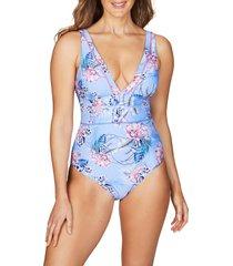 women's sea level spliced one-piece swimsuit, size 12 us - blue