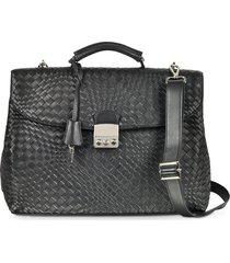 forzieri designer briefcases, black woven leather business bag w/shoulder strap