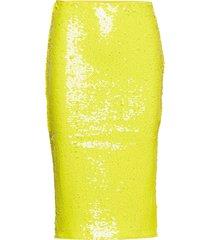 sequin split skirt knälång kjol gul ivyrevel