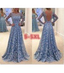 lace formal dress backless prom dresses long sleeves full length dress summer br