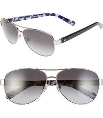 kate spade new york 'dalia2' 58mm aviator sunglasses in silver/dots at nordstrom