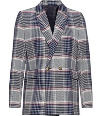 d1. longline checked blazer blazers over d blazers blå gant