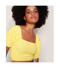 blusa cropped feminina com lastex manga curta bufante decote reto amarela