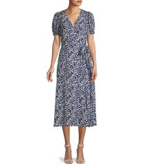 tanya taylor women's dorothy floral silk wrap dress - confetti navy - size 2