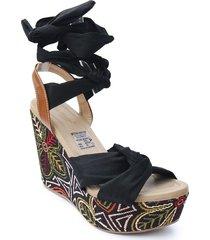 calzado dama plataforma 5 1/2 negro y multicolor 462soulnegro