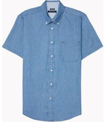 tommy hilfiger men's adaptive custom fit twill short sleeve shirt medium indigo - m