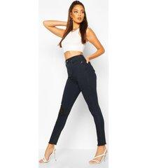 distressed skinny jeans van stretchstof met hoge taille, indigo