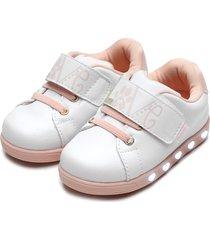 tãªnis pampili menina sneaker luz branco/rosa - branco - menina - dafiti