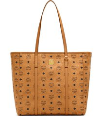 mcm medium toni visetos coated canvas shopper - brown