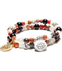 braccialetti fatti a mano del polsino del braccialetto di perline di fascino di lotus d'argento d'argento dell'annata per le donne degli uomini