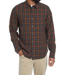 men's vince canyon shadow plaid button-up shirt, size xx-large - red