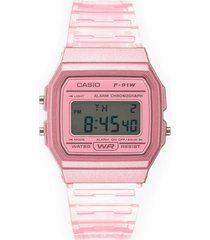 reloj vintage transparente rosado casio
