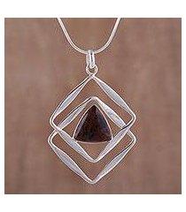 mahogany obsidian pendant necklace, 'modern inca' (peru)