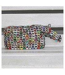 recycled aluminum pop-top wristlet, 'eco-friendly rainbow' (brazil)
