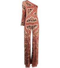 etro naïf-print silk jumpsuit - red