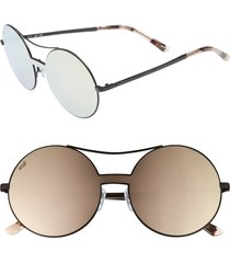 women's web 55mm round metal shield sunglasses - black/ brown