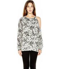 buck one shoulder open pullover - l heather grey flower