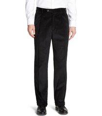 men's berle pleated classic fit corduroy trousers, size 42 x unhemmed - black