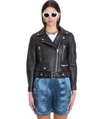 acne studios mock biker jacket in black leather