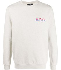 a.p.c. michel logo-print cotton sweatshirt - neutrals