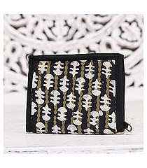 batik cotton wallet, 'lovely designs in black' (india)