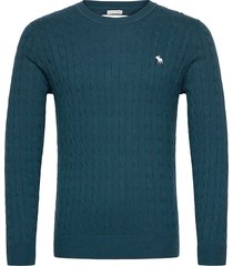 anf mens sweaters gebreide trui met ronde kraag blauw abercrombie & fitch