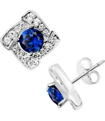 blue glass & cubic zirconia square halo stud earrings in fine silver-plate