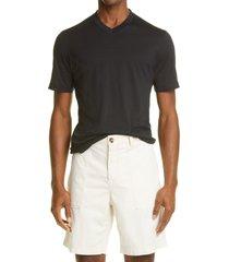 men's brunello cucinelli v-neck slim fit silk & cotton t-shirt, size xxx-large - blue