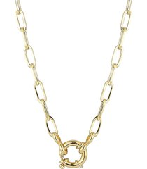 """chloe & madison women's 14k yellow gold vermeil link chain necklace/18"""""""