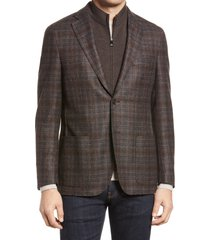 men's corneliani men's id plaid virgin wool car coat, size 44 us - brown