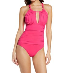 women's la blanca island goddess mio high neck one-piece swimsuit, size 4 - pink