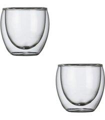 conjunto de 2 copos para café com parede dupla em vidro 80ml hot cold kenya
