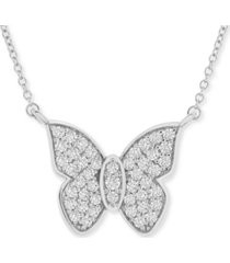 "wrapped in love diamond butterfly 20"" pendant necklace (1/2 ct. t.w.) in 14k white gold, created for macy's"