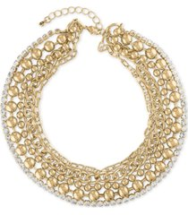 "rachel rachel roy gold-tone crystal multi-row collar necklace, 15"" + 2"" extender"