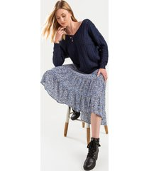 women's charlie high low midi skirt in navy by francesca's - size: s