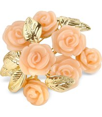 az collection designer brooches & pins, pink roses gold plated brooch