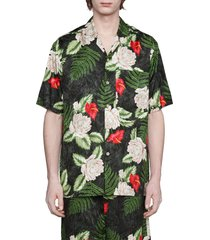 men's gucci hawaiian dream short sleeve button-up shirt, size 40 us - black