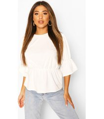 gathered sleeve detail peplum top, ivory