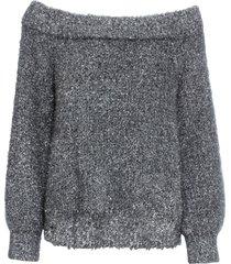 maglione in lurex con scollo a barca (grigio) - bodyflirt