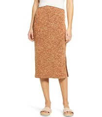 women's lou & grey marled slub knit midi skirt, size xx-small - brown