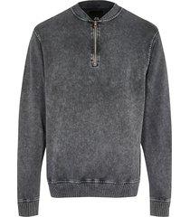 river island mens grey 1/4 zip sweatshirt